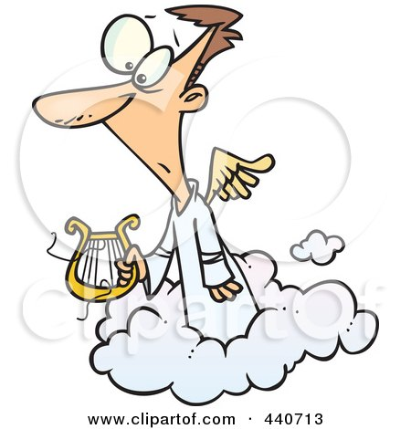 Royalty-Free (RF) Clip Art Illustration of a Cartoon Angel Holding A Broken Lyre by toonaday