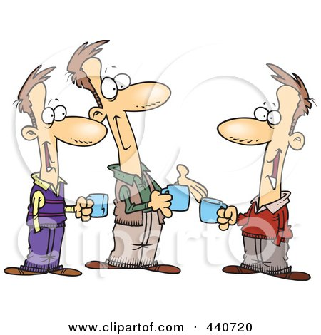 Royalty-Free (RF) Clip Art Illustration of Cartoon Three Brothers Talking Over Coffee by toonaday