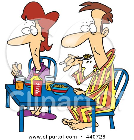Royalty-Free (RF) Clip Art Illustration of a Cartoon Couple Eating Breakfast Together by toonaday