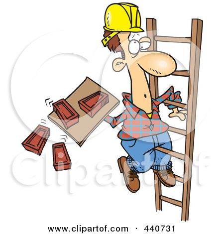 Royalty Free RF Clip Art Illustration Of A Cartoon Mason Carrying Bricks On A Ladder