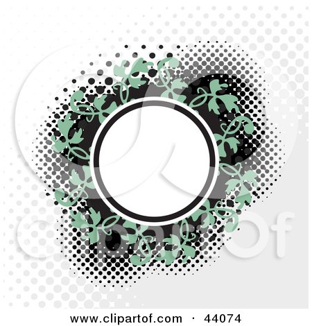 Clipart Illustration of a White Circle Text Box With A Green Vine On A Background With Dots by Arena Creative