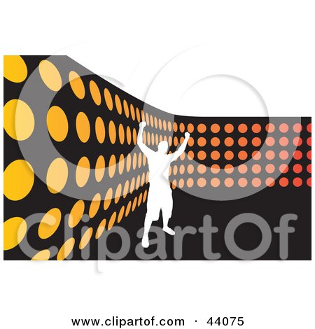 Clipart Illustration of a Silhouetted White Man Celebrating By An Orange Dot Wall, On Black And White by Arena Creative