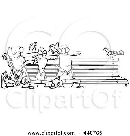 Pleasant Cartoon Black And White Outline Design Of Three Men Watching Squirreltailoven Fun Painted Chair Ideas Images Squirreltailovenorg
