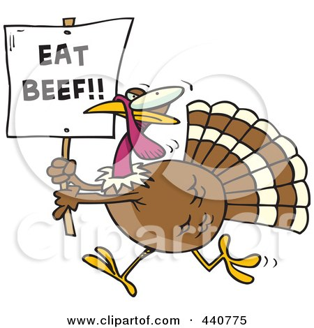 Royalty-Free (RF) Clip Art Illustration of a Cartoon Turkey With An Eat Beef Sign by toonaday