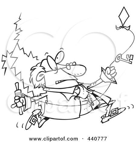 Royalty-Free (RF) Clip Art Illustration of Ben Franklin Running ...