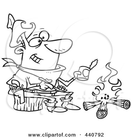 Royalty-Free (RF) Clip Art Illustration of a Cartoon Black And White Outline Design Of A Cowboy Baking Beans Over A Camp Fire by toonaday