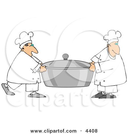 Two Chefs Carrying A Large Oversized Pot Of Food Clipart