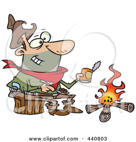 Royalty-Free (RF) Clip Art Illustration of a Cartoon Cowboy Baking Beans Over A Camp Fire by toonaday