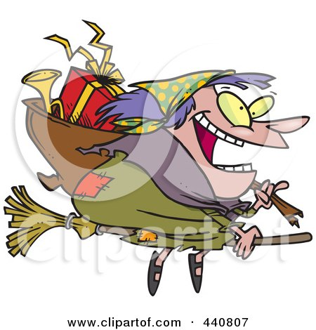 Cartoon Befana Witch Flying With Gifts Posters, Art Prints