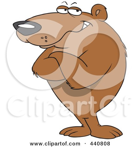 Royalty-Free (RF) Clip Art Illustration of a Cartoon Bear Standing With Folded Arms by toonaday