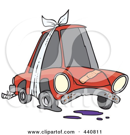 Royalty-Free (RF) Clip Art Illustration of a Cartoon Beater Car With Bandages And Flat Tire by toonaday