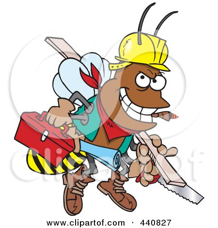 Royalty-Free (RF) Clip Art Illustration of a Cartoon Worker Bee Carrying Tools by toonaday