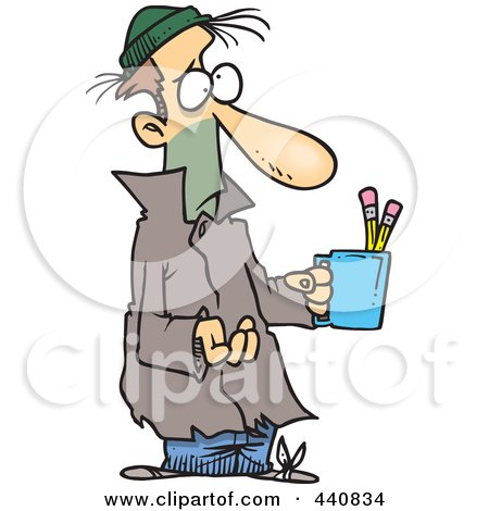 Cartoon Poor Man Begging With A Pencil Cup Posters, Art Prints