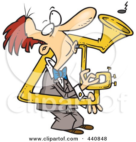 Royalty-Free (RF) Clip Art Illustration of a Cartoon Man Playing A Bent Sousaphone by toonaday