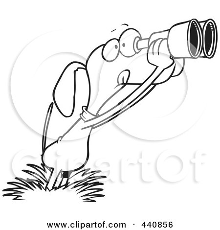 Royalty-Free (RF) Clip Art Illustration of a Cartoon Black And White Outline Design Of A Bird Dog Using Binoculars by toonaday