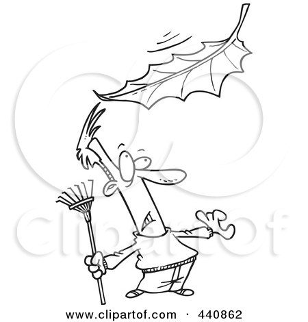 Royalty-Free (RF) Clip Art Illustration of a Cartoon Black And White Outline Design Of A Raking Man Watching A Big Leaf Fall by toonaday