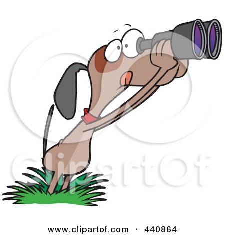 Royalty-Free (RF) Clip Art Illustration of a Cartoon Bird Dog Using Binoculars by toonaday