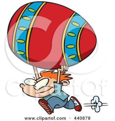 Royalty-Free (RF) Clip Art Illustration of a Cartoon Boy Running With A Big Easter Egg by toonaday
