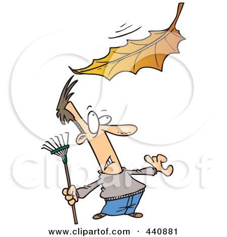 Royalty-Free (RF) Clip Art Illustration of a Cartoon Raking Man Watching A Big Leaf Fall by toonaday