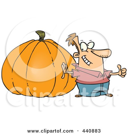 Royalty-Free (RF) Clip Art Illustration of a Cartoon Man With A Big Pumpkin by toonaday