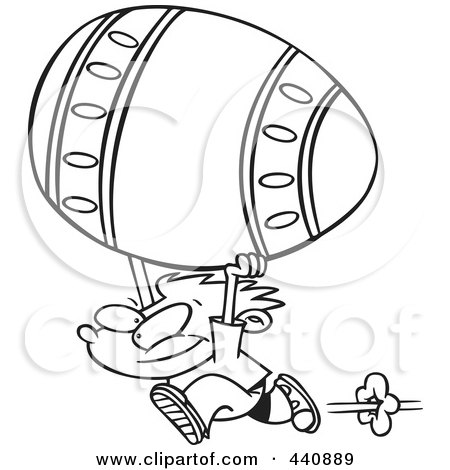Royalty-Free (RF) Clip Art Illustration of a Cartoon Black And White Outline Design Of A Boy Running With A Big Easter Egg by toonaday