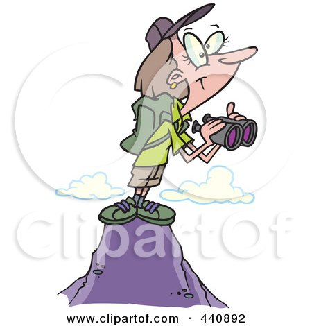 Royalty-Free (RF) Clip Art Illustration of a Cartoon Female Hiker On Top Of A Mountain With Binoculars by toonaday