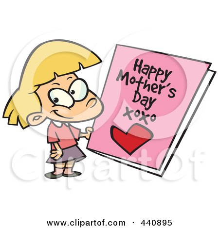 Royalty-Free (RF) Clip Art Illustration of a Cartoon Girl Holding A Mothers Day Card by toonaday
