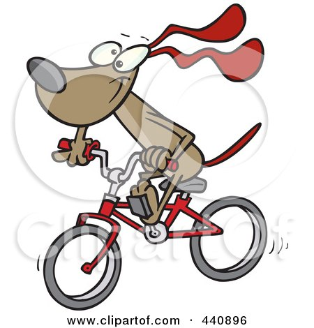 Royalty-Free (RF) Clip Art Illustration of a Cartoon Cycling Dog by toonaday