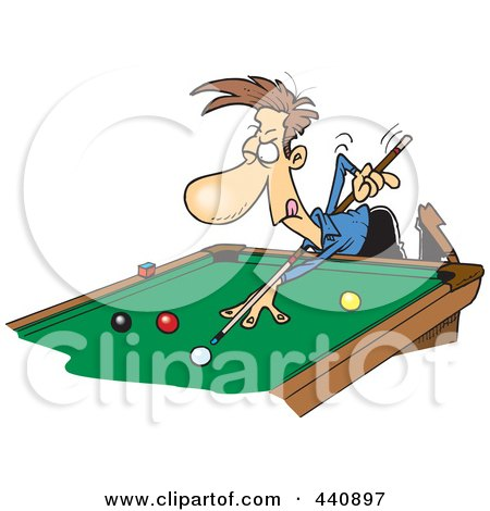 Cartoon Man Leaning Over A Billiards Table By Toonaday
