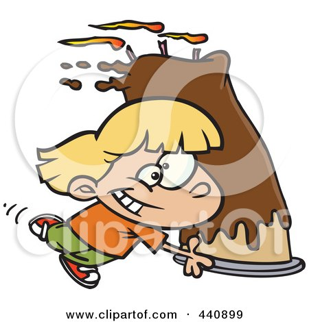 Royalty-free clipart picture of a girl carrying a big birthday cake,