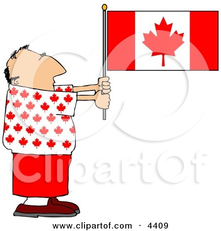 Patriotic Canadian Man Holding a Canadian Flag Posters, Art Prints