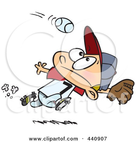 Royalty-Free (RF) Clip Art Illustration of a Cartoon Boy Running To Catch A Baseball by toonaday