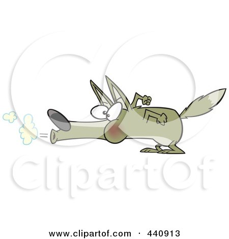Royalty-Free (RF) Clip Art Illustration of a Cartoon Big Bad Wolf Blowing by toonaday