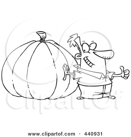 Royalty-Free (RF) Clip Art Illustration of a Cartoon Black And White Outline Design Of A Man With A Big Pumpkin by toonaday