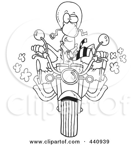 Royalty-Free (RF) Clip Art Illustration of a Cartoon Black And White Outline Design Of A Businessman Biker On His Motorcycle by toonaday