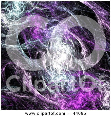 Clipart Illustration of a Smokey White And Purple Fractal Background On Black by Arena Creative