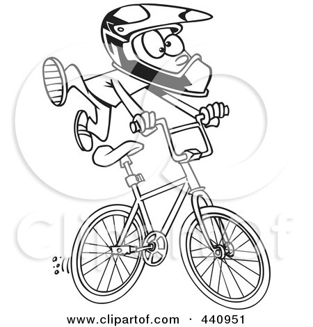 Royalty-Free (RF) Clip Art Illustration of a Cartoon Black And White Outline Design Of A BMX Boy by toonaday