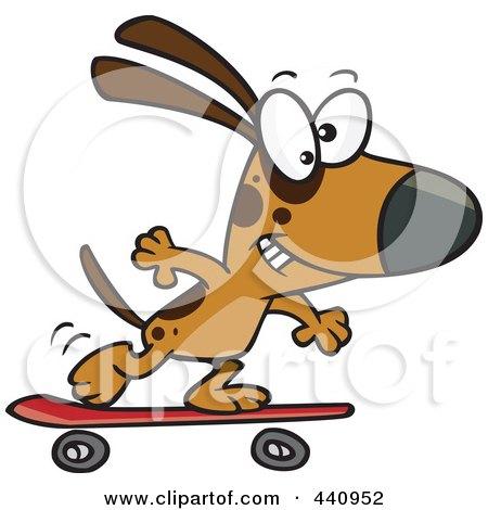 Royalty-Free (RF) Clip Art Illustration of a Cartoon Dog Skateboarding by toonaday