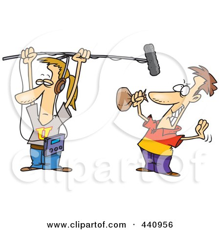 Royalty-Free (RF) Clip Art Illustration of a Cartoon Man Holding A Boom Microphone Over An Actor by toonaday