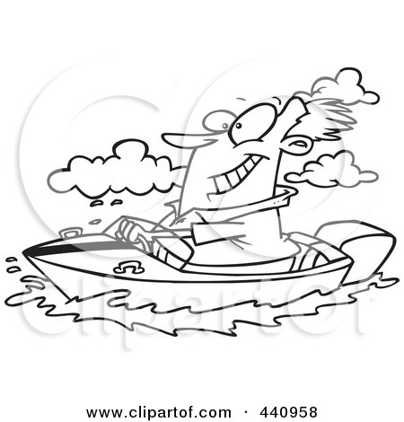 Royalty-Free (RF) Clip Art Illustration of a Cartoon Black And White Outline Design Of A Man Boating by toonaday