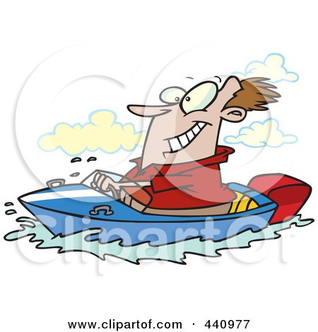 Royalty-Free (RF) Clip Art Illustration of a Cartoon Man Boating by toonaday