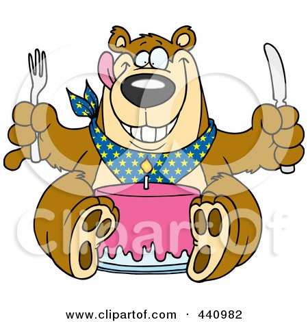 Royalty-free clipart picture of a birthday bear eating cake,