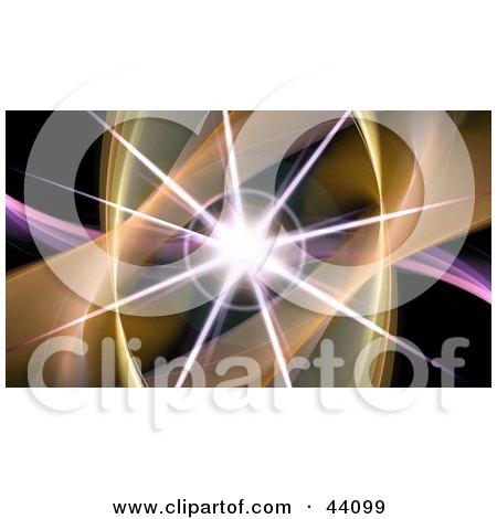 Bursting Star On A Purple Wave With Orange Fractals On Black Posters, Art Prints