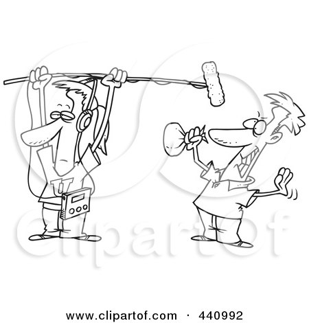 Royalty-Free (RF) Clip Art Illustration of a Cartoon Black And White Outline Design Of A Man Holding A Boom Microphone Over An Actor by toonaday