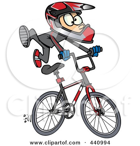 Royalty-Free (RF) Clip Art Illustration of a Cartoon BMX Boy by toonaday