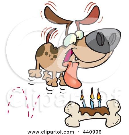 Royalty-Free (RF) Clip Art Illustration of a Cartoon Birthday Dog With A Bone Cake by toonaday
