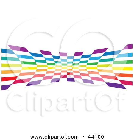 Clipart Illustration of a Checkered Rainbow Colored Wave On White by Arena Creative