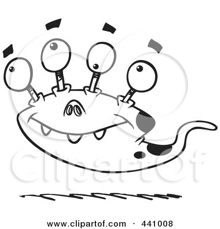 Royalty-Free (RF) Clip Art Illustration of a Cartoon Black And White Outline Design Of A Bizarre Monster by toonaday