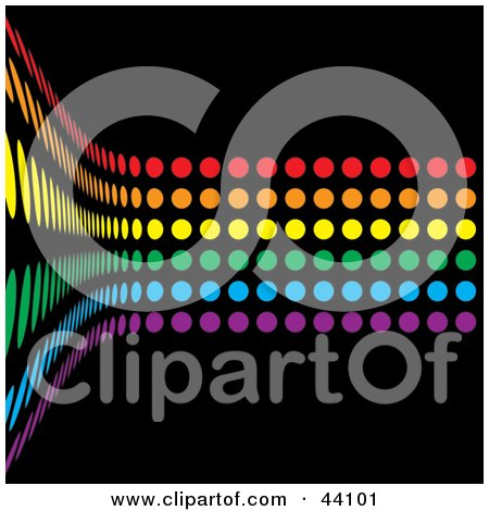 Clipart Illustration of a Curving Wall Of Rainbow Colored Dots On Black by Arena Creative