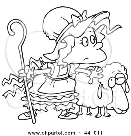 Royalty-Free (RF) Clip Art Illustration of a Cartoon Black And White Outline Design Of Little Bo Peep With A Sheep by toonaday